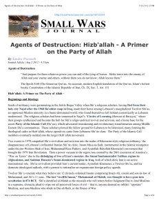 Agents of Destruction: Hizb'allah - A Primer on the Party of Allah